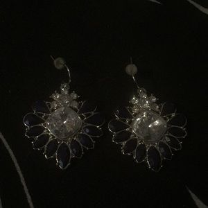 Navy blue and faux diamond earrings